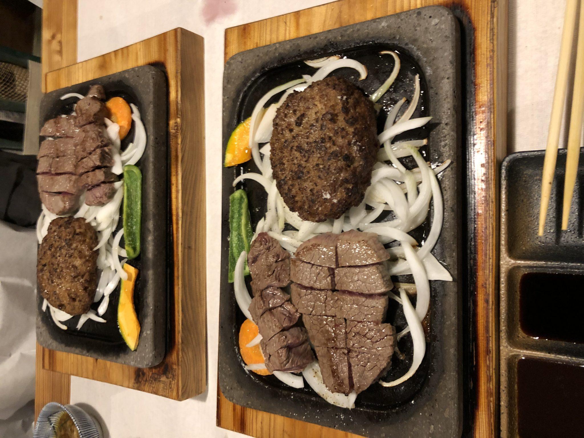 ハンバーグとヒレトロースのステーキ